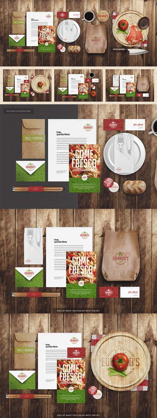 CreativeMarket Restaurant / Food Identity Mock-up