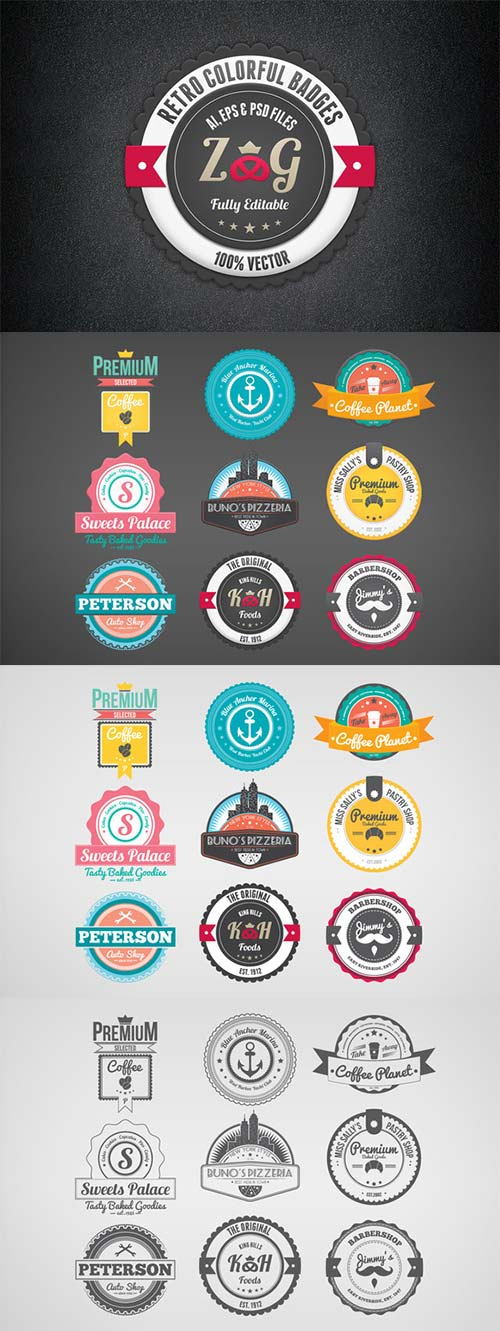 CreativeMarket Retro Colorful Badges