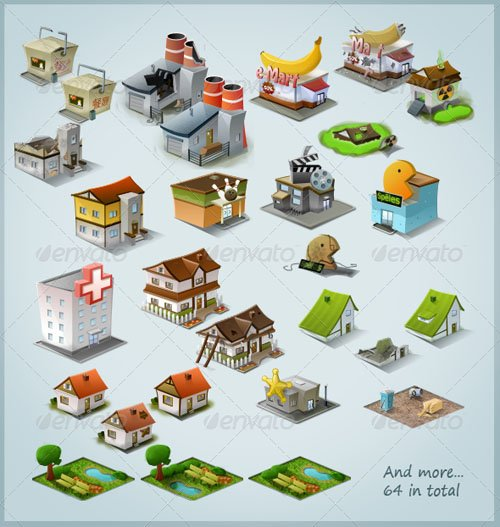 GraphicRiver Modern Stylised Building Icon Pack (64 items)
