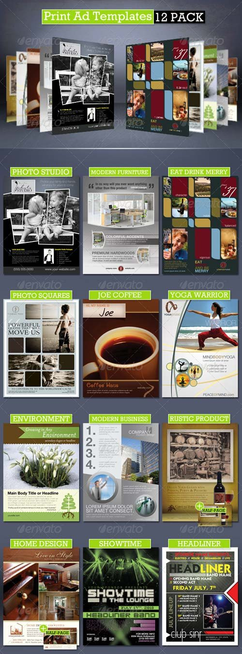 GraphicRiver Print Ad Templates 12 Pack