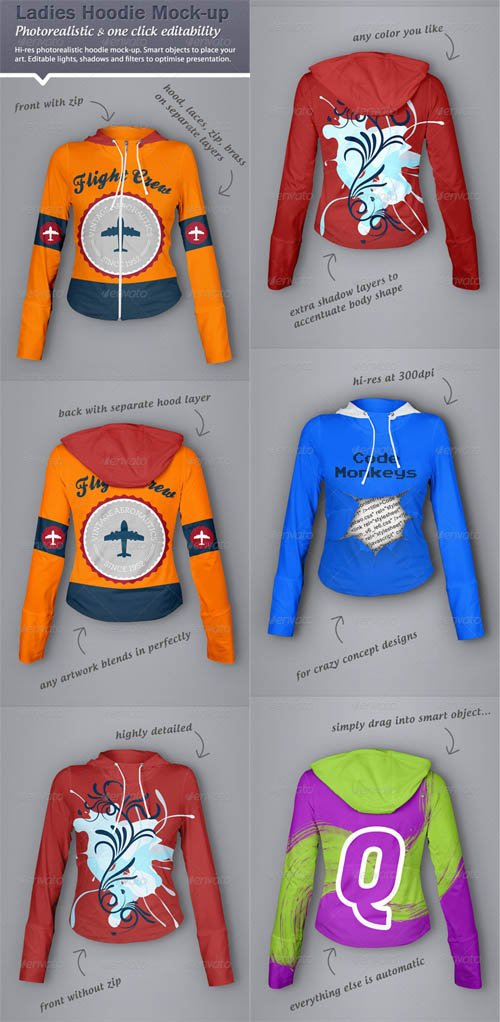 GraphicRiver Hoodie Mock-Up - Ladies Version