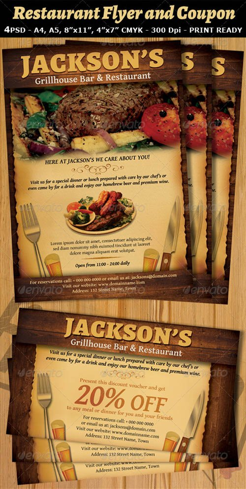 GraphicRiver Restaurant-Bar Magazine Ad or Flyer V2