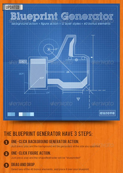 GraphicRiver Blueprint Generator: Action + Layer Styles + Pat