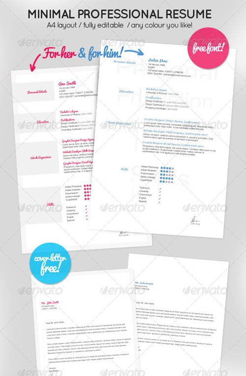 GraphicRiver Minimal Resume for Him & Her + Cover letter