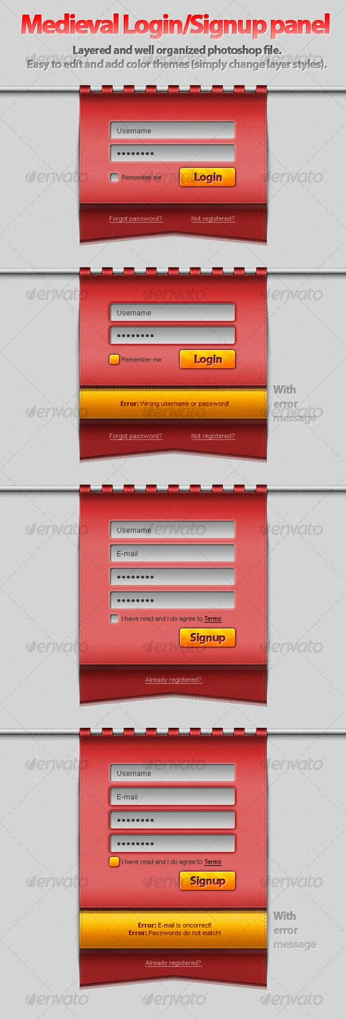 GraphicRiver Hanging Medieval Login/Signup Panel!