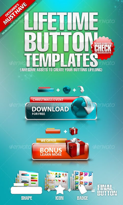 GraphicRiver Lifetime Button Templates