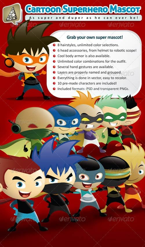 GraphicRiver Cartoon Superhero Mascot Creator