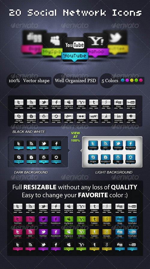 GraphicRiver Awesome Social Network Icons