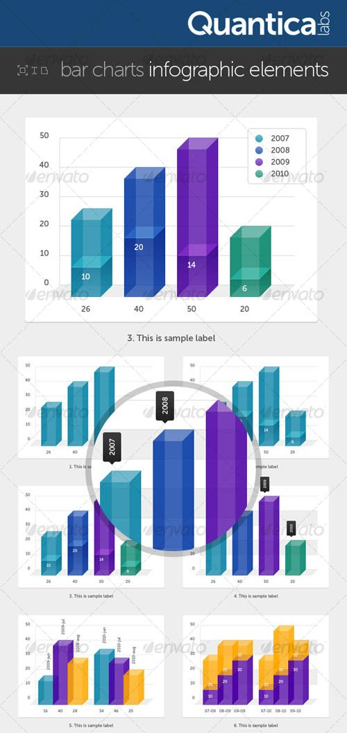 GraphicRiver Bar Charts Infographic Elements