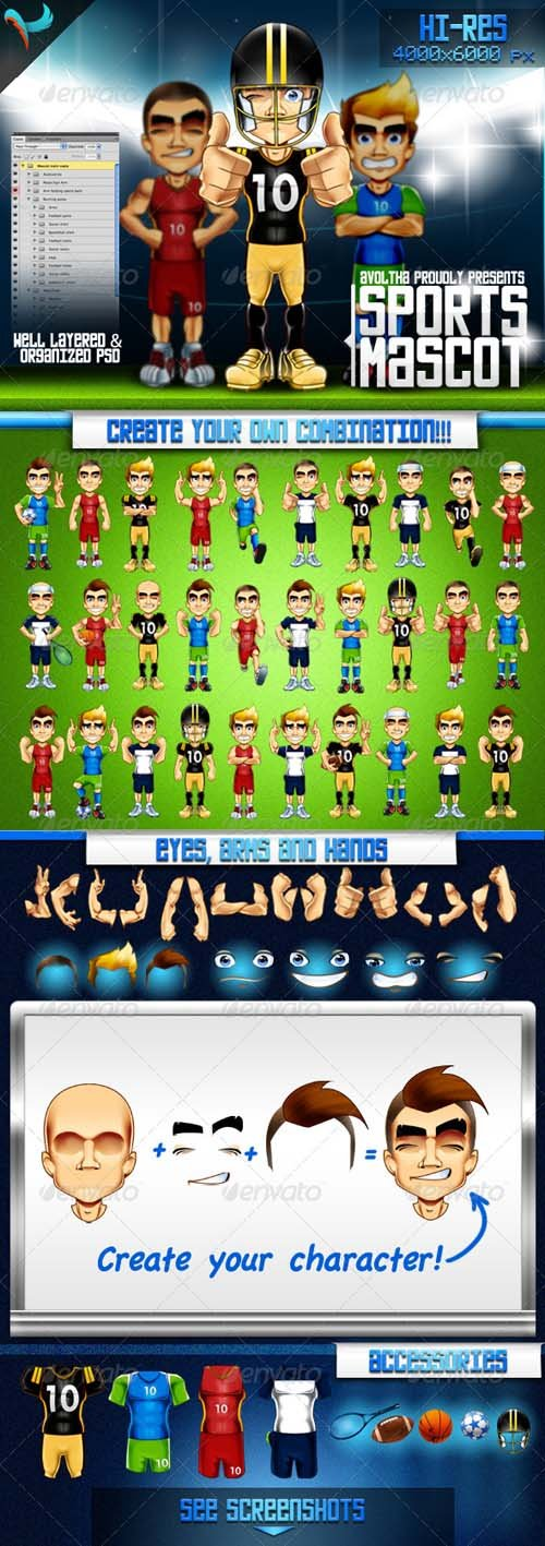 GraphicRiver Animatable Sports Mascot Character Kit