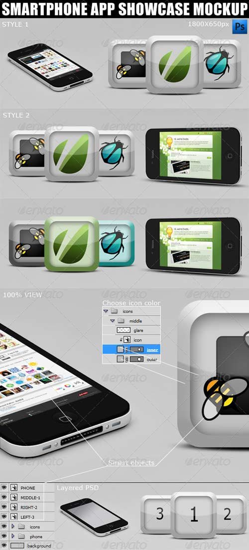 GraphicRiver Smartphone App Showcase Mockup