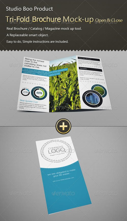 GraphicRiver Tri-Fold Brochure / Catalog Mock-up - Open & Close