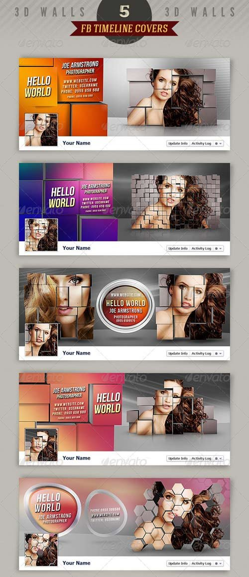 GraphicRiver 5 Facebook Timeline Covers - 3D Walls