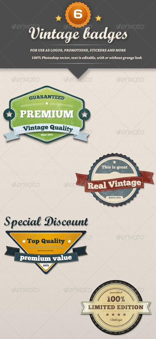 GraphicRiver 6 Retro Vintage Badges