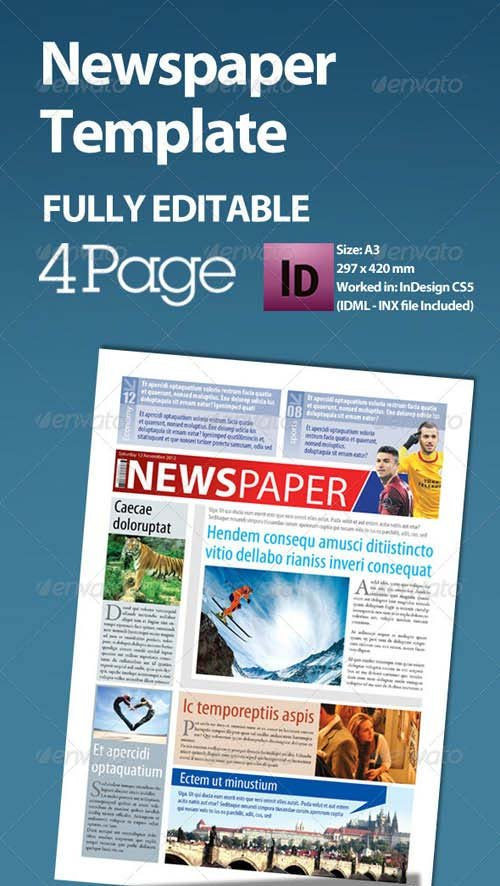 GraphicRiver Newspaper Template A3 Format 4 Page
