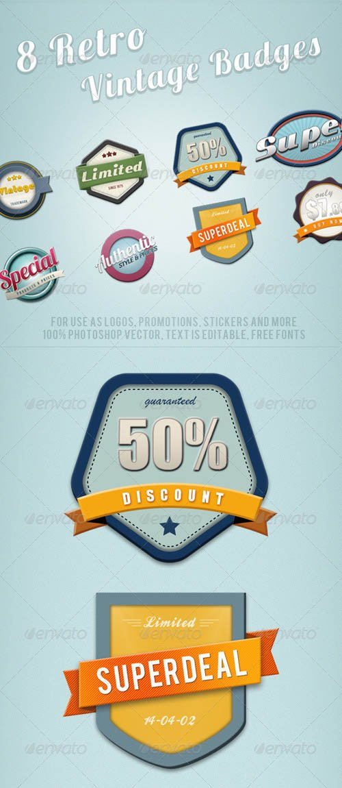 GraphicRiver 8 Retro Vintage Badges
