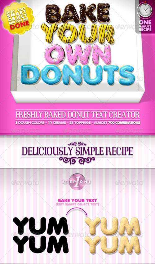 GraphicRiver Doughnut Text Creator // almost 700 Combinations