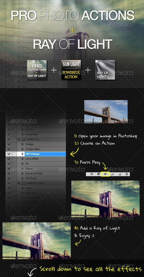 GraphicRiver PRO Photo Actions + Ray of Lights