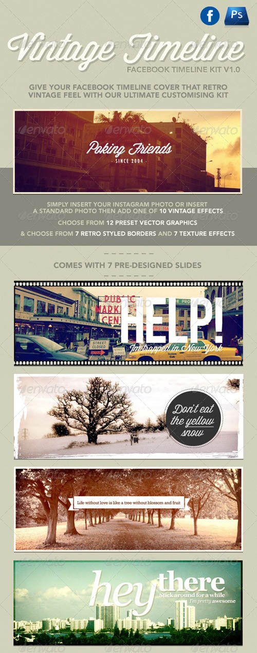 GraphicRiver Vintage Facebook Timeline Kit
