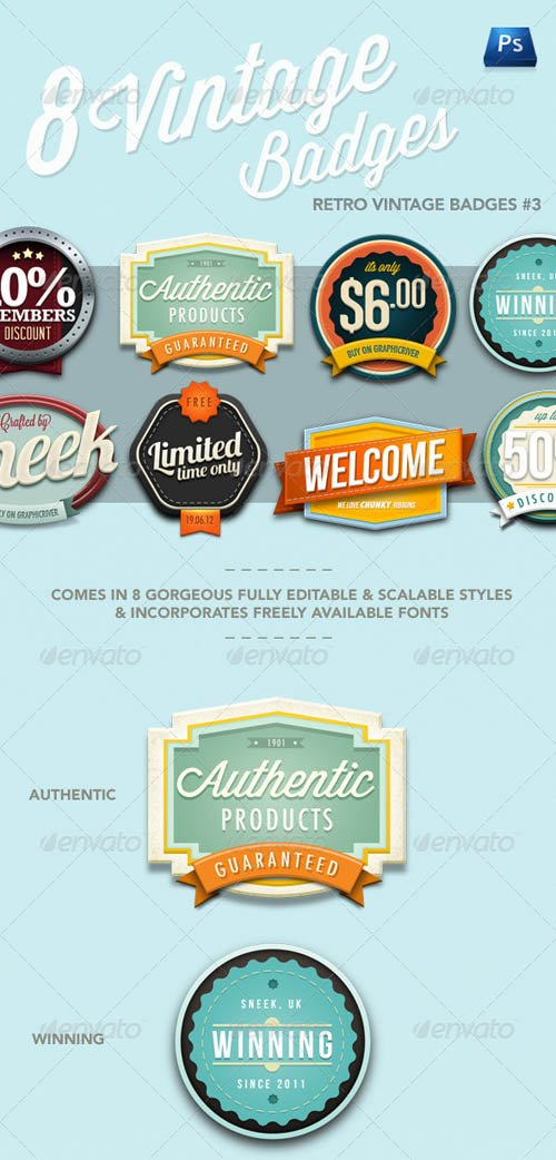 GraphicRiver Retro Vintage Badges #3