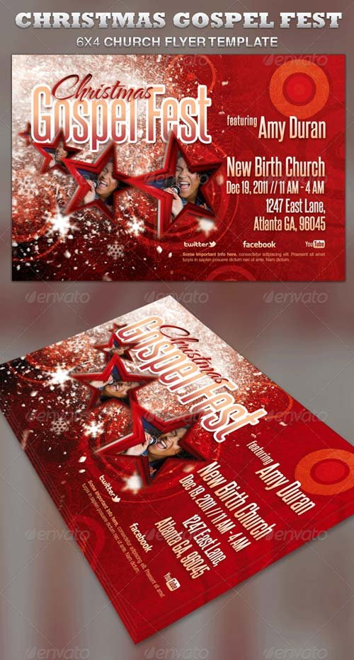 flyer templates graphicriver christmas gospel fest church flyer template graphicflux. Black Bedroom Furniture Sets. Home Design Ideas