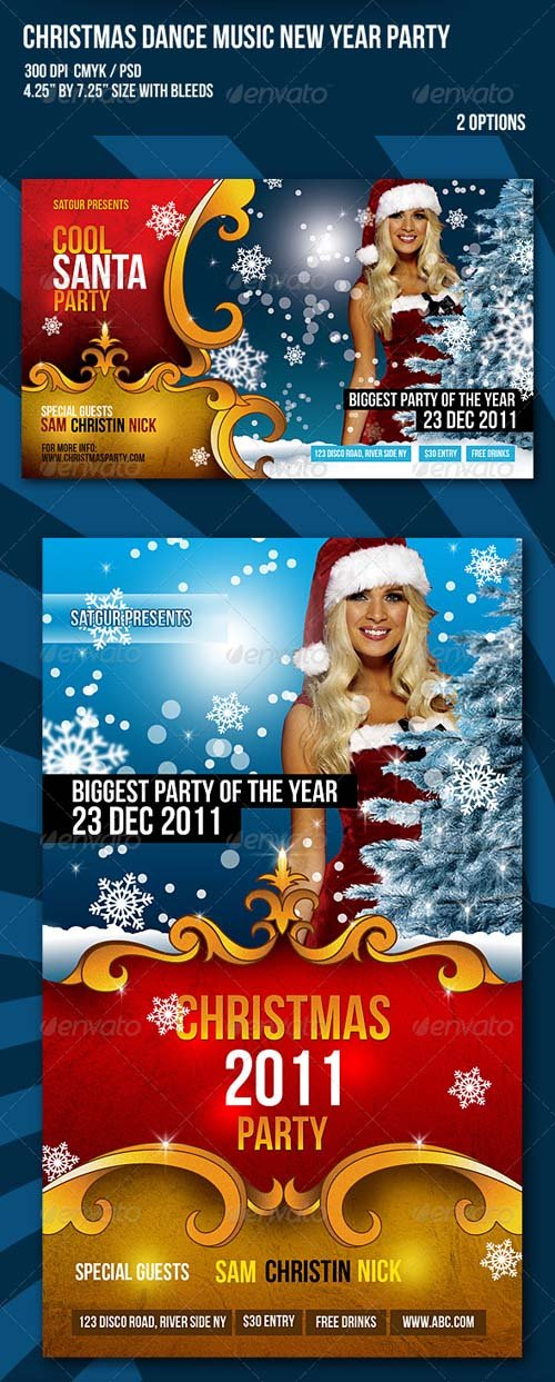 GraphicRiver Christmas / New Year Dance Party Night Flyer