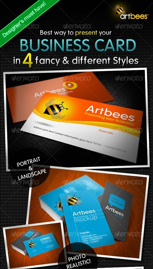 GraphicRiver Great Business Card Mock-up Pack - 4 Styles