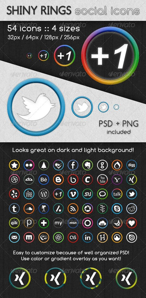 GraphicRiver Shiny Rings Social Icons