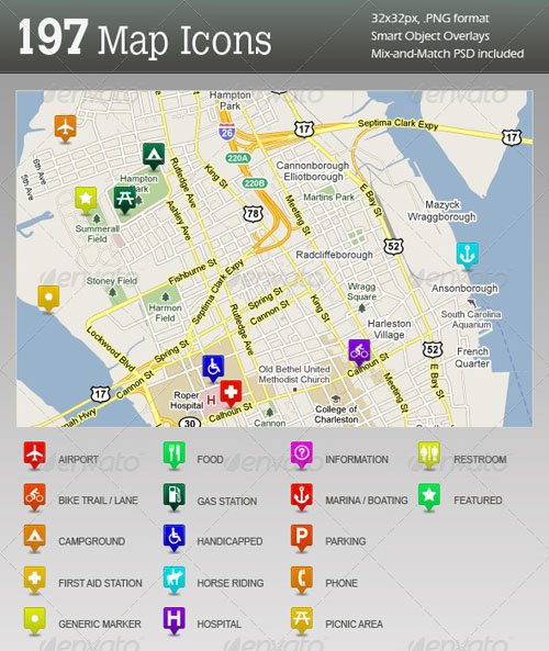 GraphicRiver 197 Ultimate GPS / Travel Map Location Icons