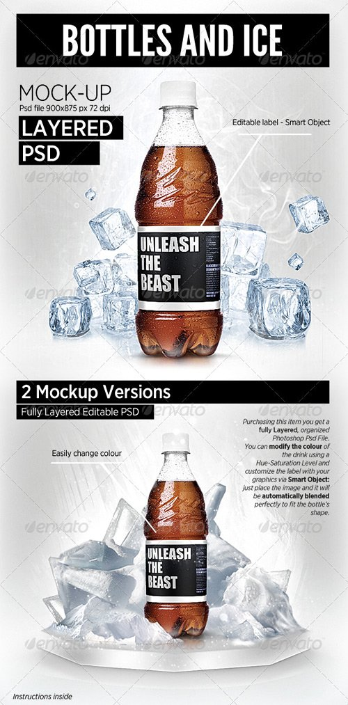 GraphicRiver Bottles and Ice Cool Mock-Up Brand Showcase