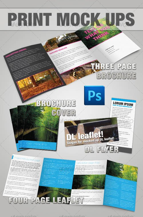 Graphicriver Brochure & Leaflet Mock-up - Photoshop
