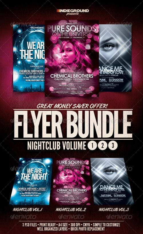 GraphicRiver Nightclub Flyer/Poster Bundle Vol. 1-3