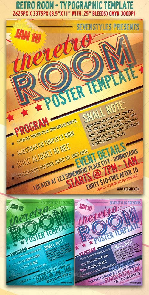 GraphicRiver RetroRoom Flyer/Poster Template.