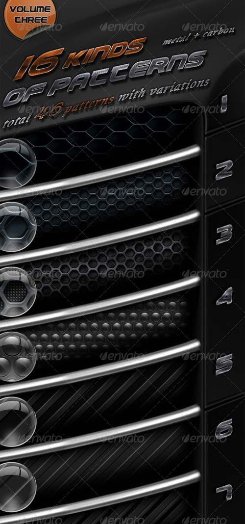 GraphicRiver 16 Kinds Of Patterns Metal + Carbon