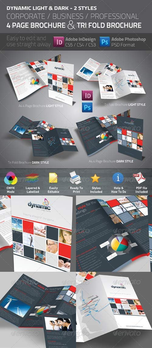 GraphicRiver Dynamic 4 Page Brochure & Tri Fold