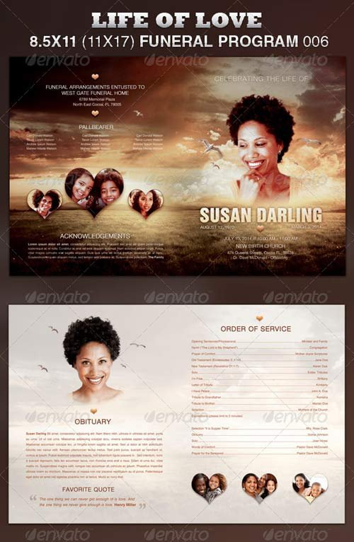 GraphicRiver Life of Love Funeral Program Template 006