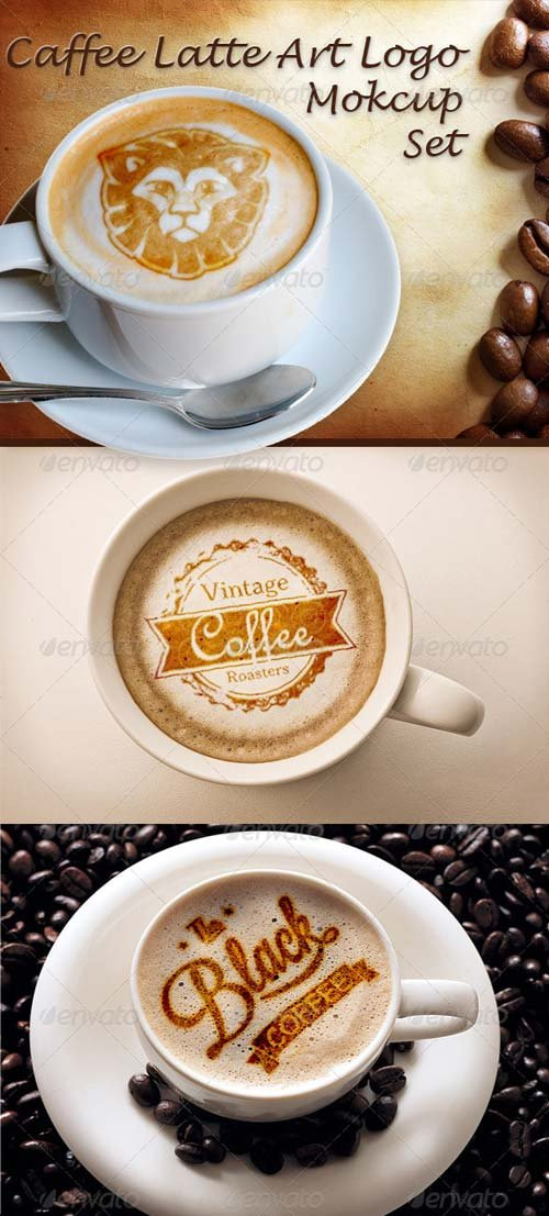 GraphicRiver Caffee Latte Art Logo Mockup Set