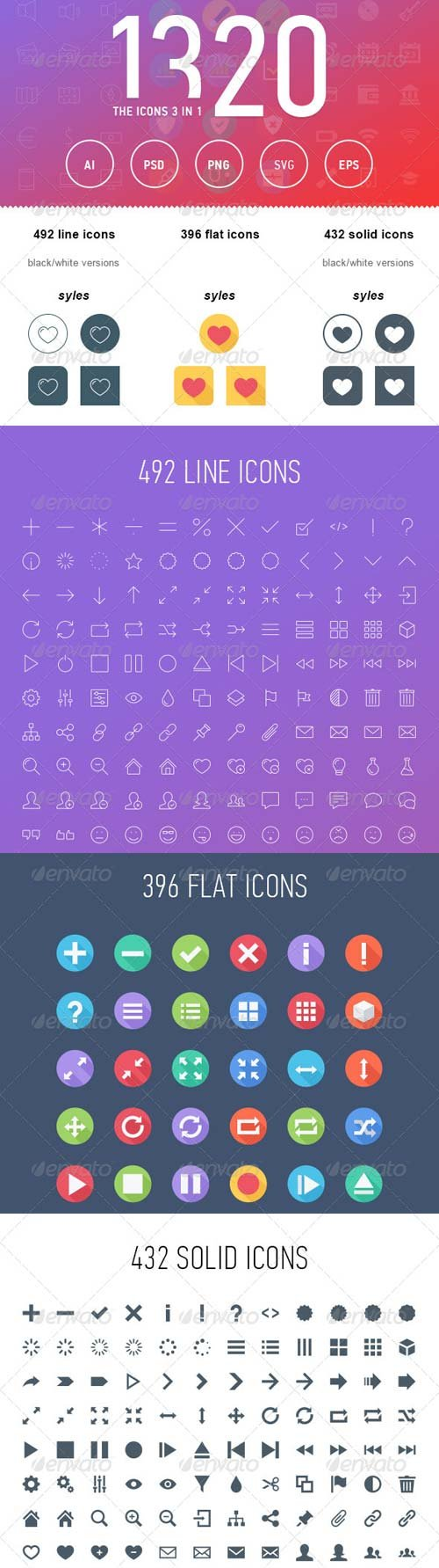 GraphicRiver The Icons 3in1 1320