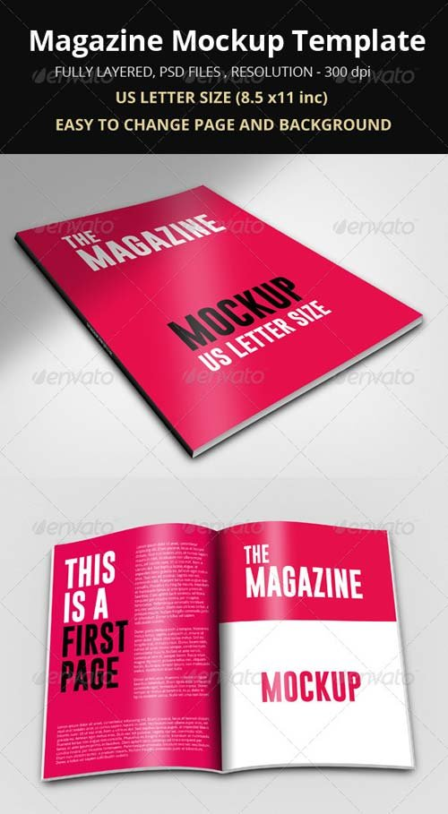 GraphicRiver Magazine Mockup Template 8608381