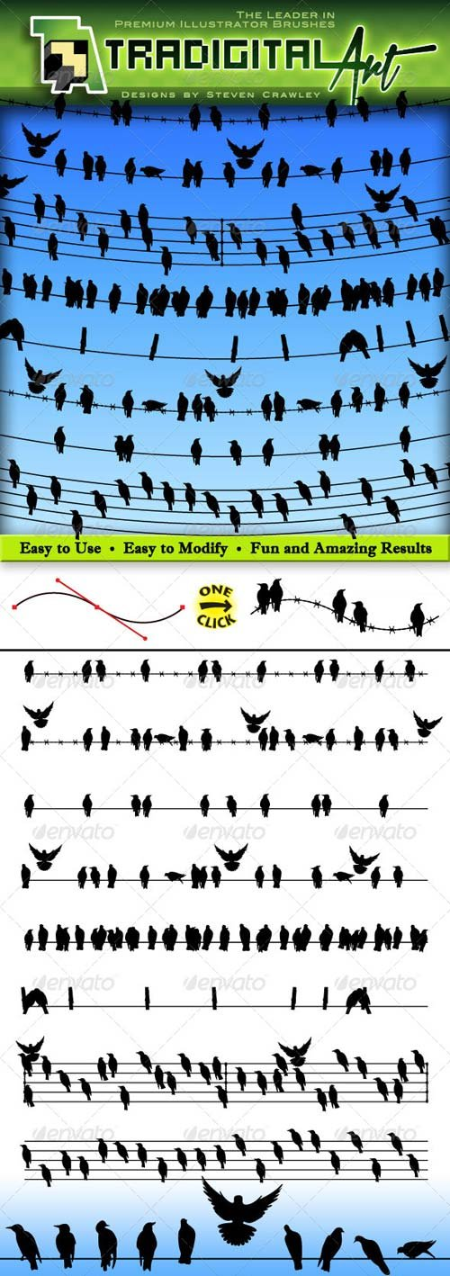 GraphicRiver Birds on a Wire Brushes Set