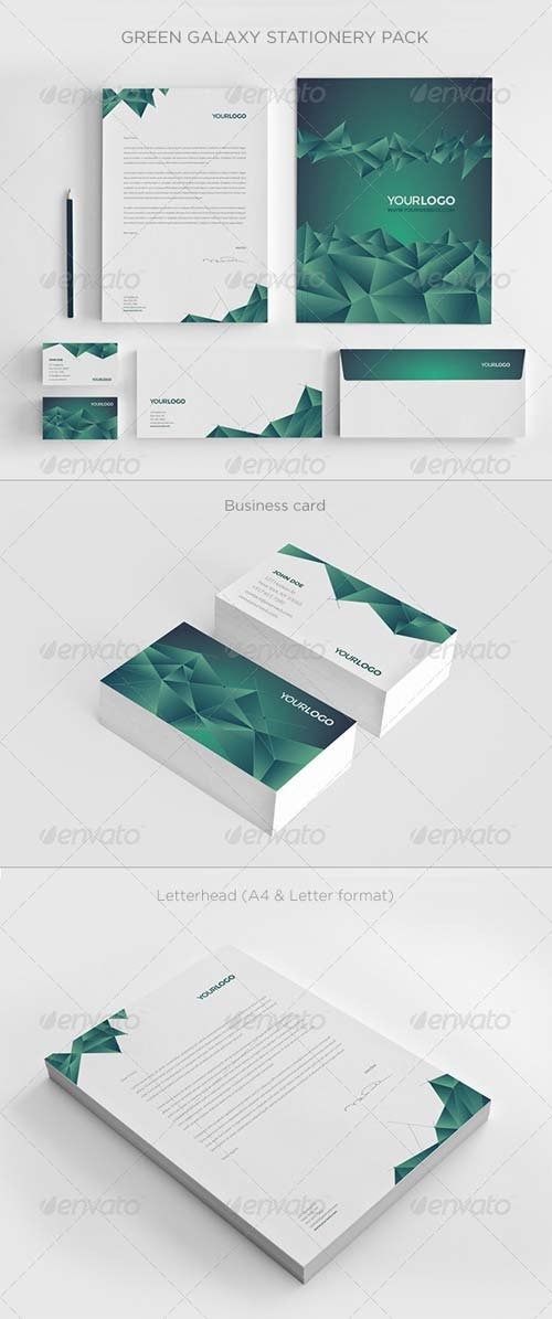 GraphicRiver Green Galaxy Stationery