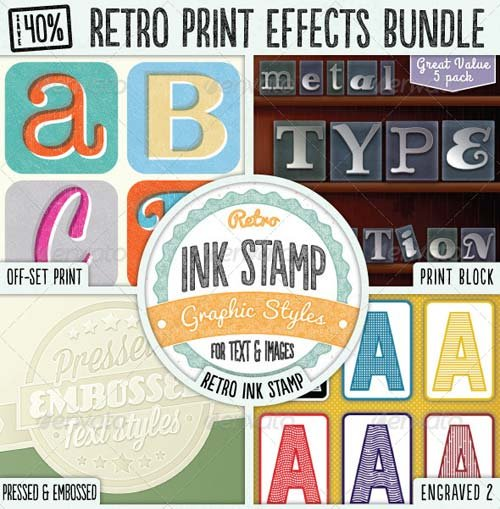 GraphicRiver Retro Print Text Effects Bundle
