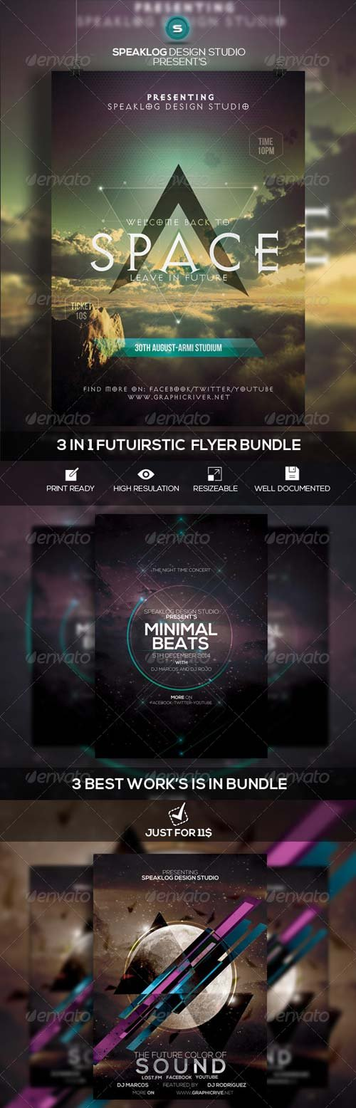 GraphicRiver Futuristic Flyer Bundle Vol-01
