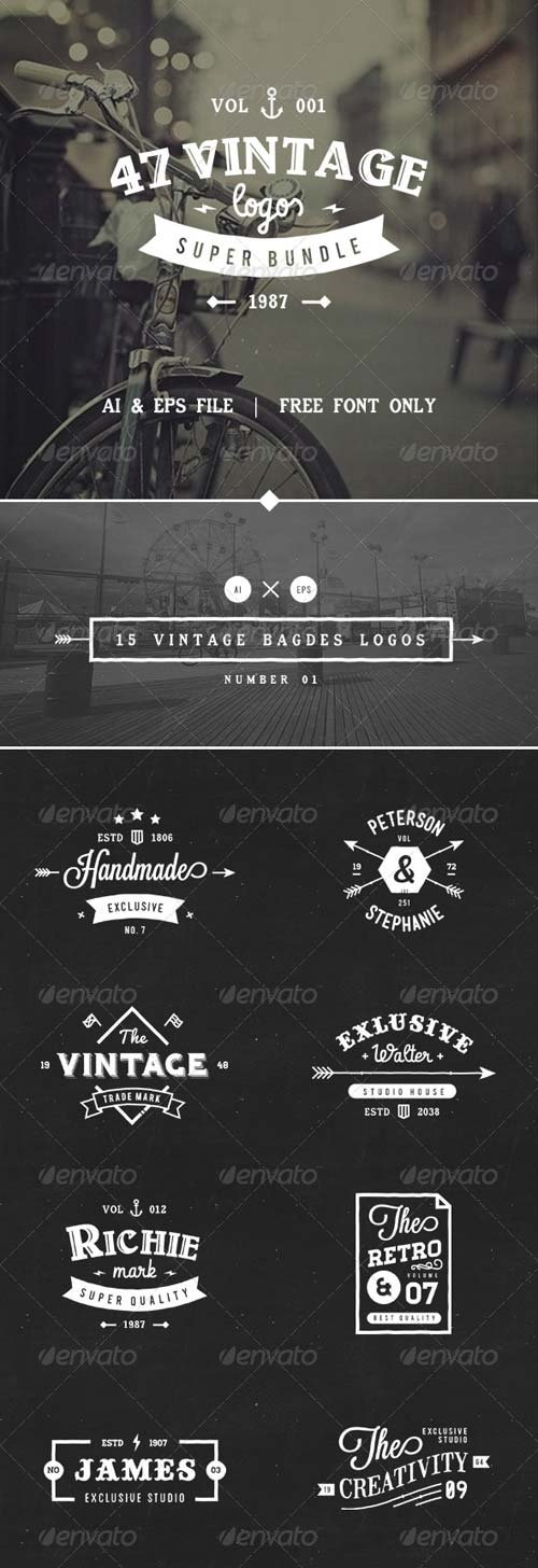 GraphicRiver 47 Vintage Logos Bundle