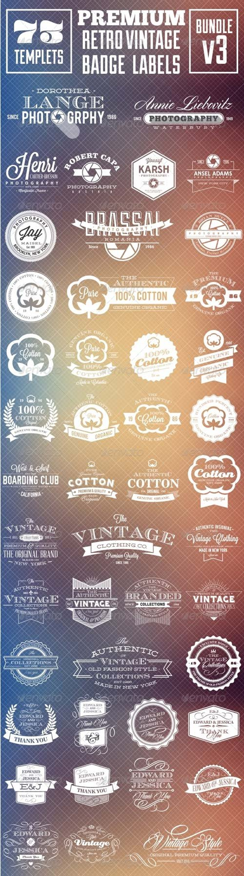 GraphicRiver Premium Retro Vintage Badge Labels Bundle v3