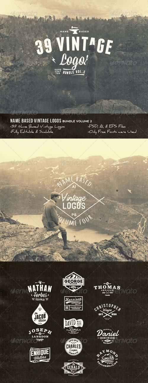 GraphicRiver 39 Name Based Vintage Logos Bundle Volume 2