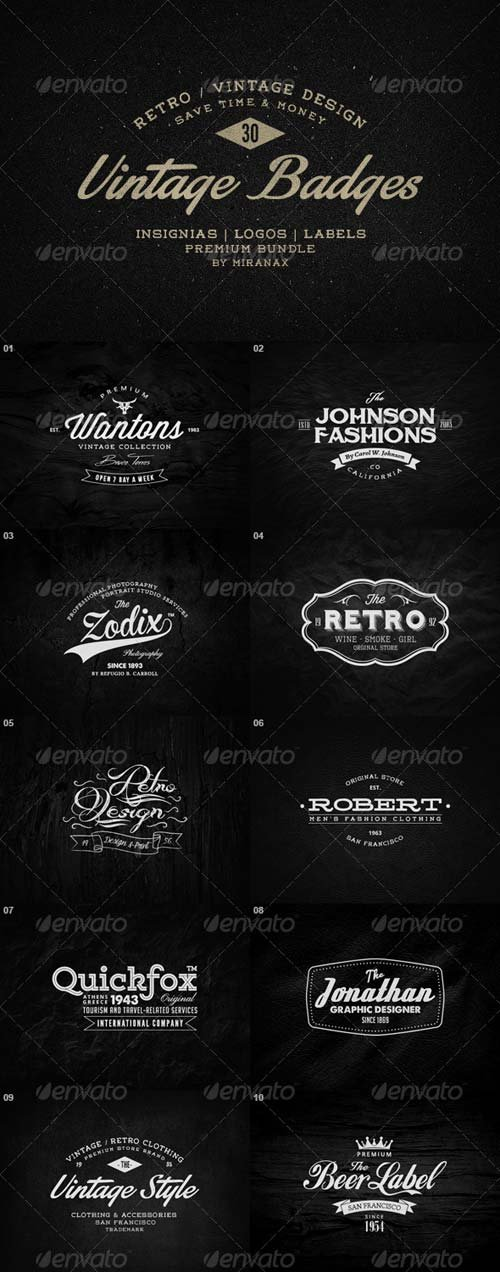 GraphicRiver 30 Vintage Badges / Labels / Logos Bundle