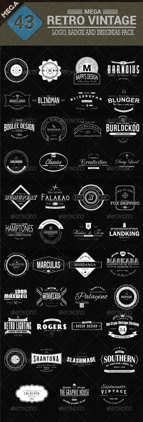 GraphicRiver 43 Mega Retro Vintage, Logo, Badge and Insignias Template