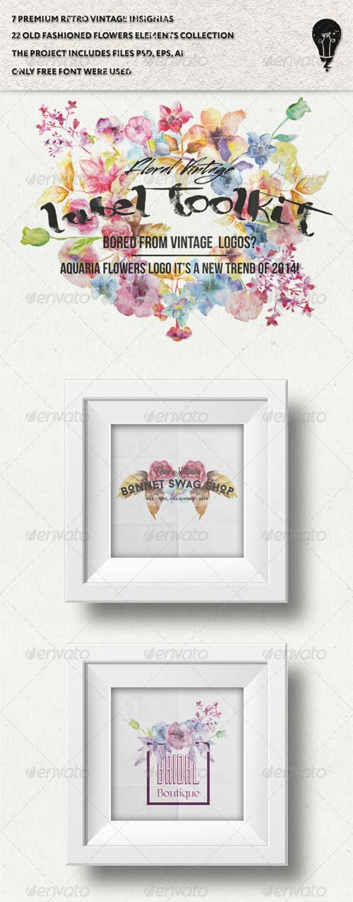 GraphicRiver Trendy Vintage Floral Labels Toolkit