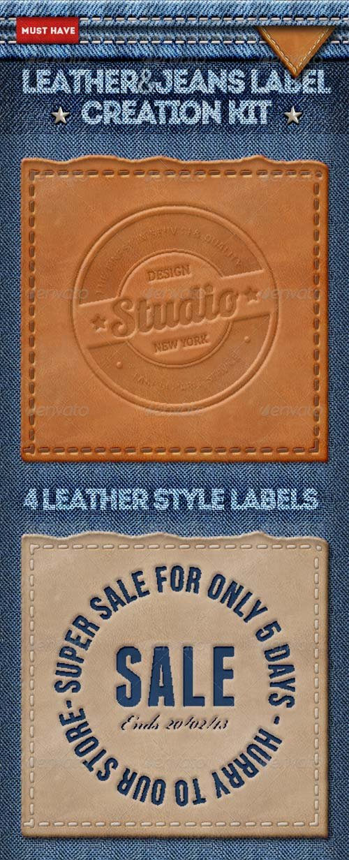 GraphicRiver Leather Jeans Label Photoshop Creator